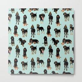 Black and Tan Coonhound Pattern Metal Print