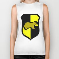 hufflepuff Biker Tanks featuring Hufflepuff Crest by Electric Unicorn