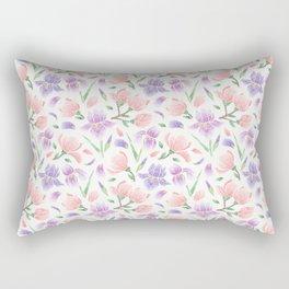 Magnolia and Iris Embroidery Style Rectangular Pillow