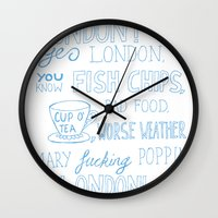 snatch Wall Clocks featuring snatch quote blue by Jordan Coombes