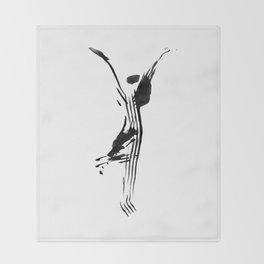 Black and white, minimalist, modern yoga pose illustration for yoga studio, yoga art, drawing, om Throw Blanket