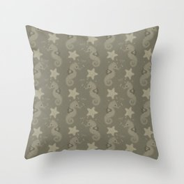 Sepia Seahorses And Starfish Pattern Throw Pillow