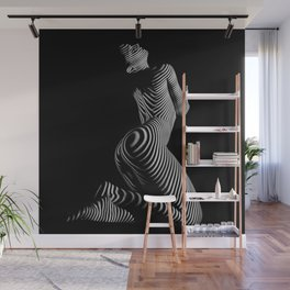 0721s-MM BW Fine Art Nude Tiger Striped Woman on Her Knees Wall Mural