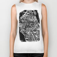 new york map Biker Tanks featuring NEW YORK CITY MAP by Laura Ann