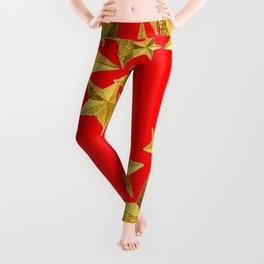 DECORATIVE GOLD  STARS RED CHRISTMAS ART Leggings