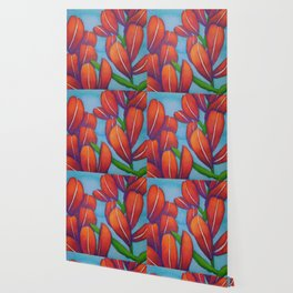 Botanical Painting with Reds and Blues Wallpaper