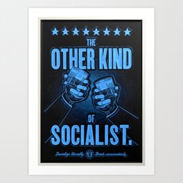 """Vintage """"The Other Kind of Socialist"""" Alcoholic Lithograph Advertisement in dark blue Art Print"""