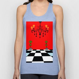 A Chandler with Topiary with Red wall paper Unisex Tank Top