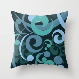 Koru Waves on a Black Background Throw Pillow
