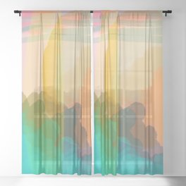 Shapes and Layers no.10 - Sun, Waves, Clouds, Sky abstract Sheer Curtain
