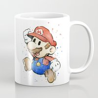 mario bros Mugs featuring Mario Watercolor by Olechka