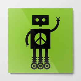 Peace Bot (Green) Metal Print