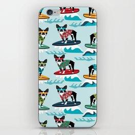 Boston Terrier surfing pattern cute pet gifts dog lovers boston terriers iPhone Skin