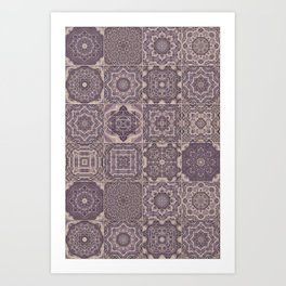 Rose Wood Shabby Chic Moroccan Tiles Faded Bohemian Luxury From The Sultans Palace  Art Print