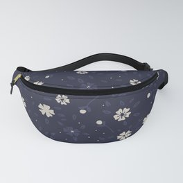 White and blue small flowers Japanese pattern Fanny Pack