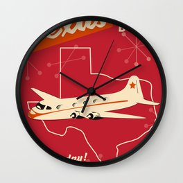 Texas By air vintage poster Wall Clock