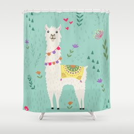 Festive Llama Shower Curtain