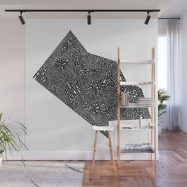 Typographic Arlington County Map Wall Mural