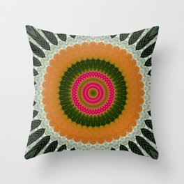 Ball Orange Green Mandalas Descendant Throw Pillow