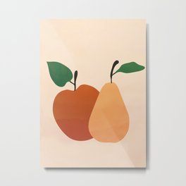 An Apple and a Pear Metal Print