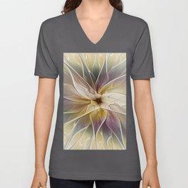 Floral Fantasy, Gold Aubergine Abstract Fractal Art Unisex V-Neck