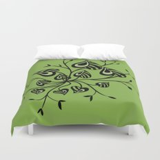 Abstract Floral With Pointy Leaves In Black And Greenery Duvet Cover