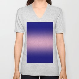 Navy Blue to Cotton Candy Pink Bilinear Gradient Unisex V-Neck