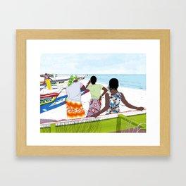Women on the beach Framed Art Print