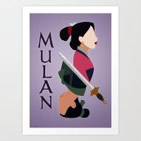 mulan Art Prints featuring Mulan by hayley phoenix