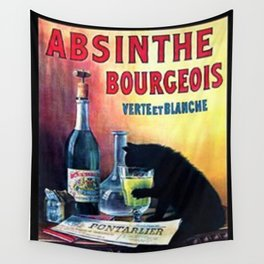 Marque Deposee Bad Cat Drinking Absinthe Bourgeois Lithograph Wall Art Wall Tapestry