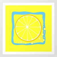 coasters Art Prints featuring LEMON by Tanya Pligina