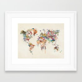 world map watercolor Framed Art Print