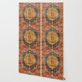 Indian Boho III // 16th Century Distressed Red Green Blue Flowery Colorful Ornate Rug Pattern Wallpaper