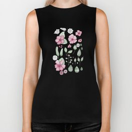 Watercolor Flower Biker Tank