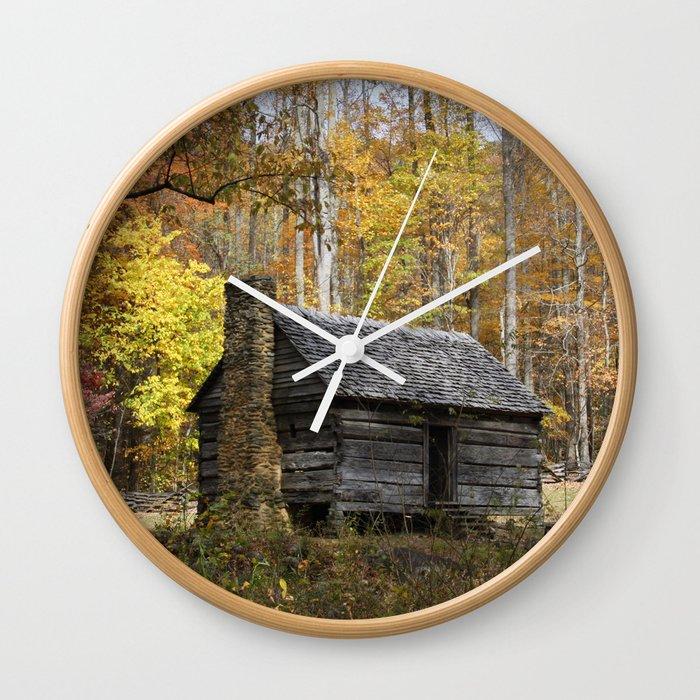 Smoky Mountain Rural Rustic Cabin Autumn View Wall Clock By Gsallicat