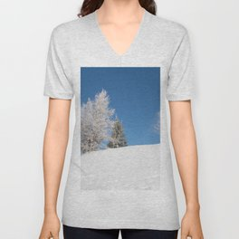 fir covered with snow Unisex V-Neck