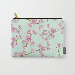 Spring Flowers - Mint and Pink Cherry Blossom Pattern Carry-All Pouch