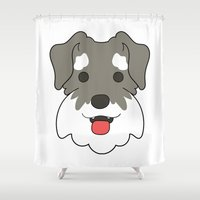 schnauzer Shower Curtains featuring Miniature Schnauzer by Sugar and Spice Menagerie
