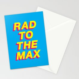 Rad to The Max 80s themed slang typography in yellow pink magenta and blue cyan Stationery Cards