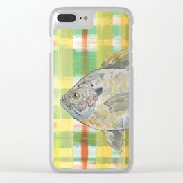 Bluegill with Yellow Plaid Background Clear iPhone Case
