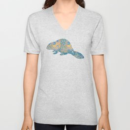 Beaver Vintage Floral Pattern Rustic Country Shabby Chic Blue Yellow Orange Grey Unisex V-Neck