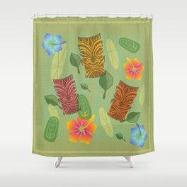 Bamboo Tiki Room Pattern Shower Curtain