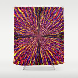 radial layers 17 - 4 segments Shower Curtain