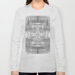 psychedelic graffiti skull art abstract in black and white Long Sleeve T-shirt