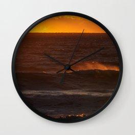 Sunset Orange Wave Spray Beach Ocean Seascape Landscape Colored Wall Art Print Wall Clock