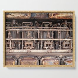 rust - ancient abandoned engine Serving Tray