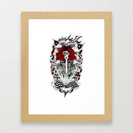 ink illustration psychedelic red head rock'n'roll girl Framed Art Print