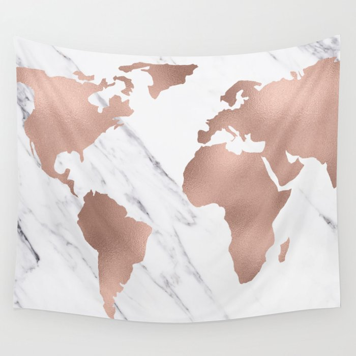 marble world map rose gold pink wall tapestry