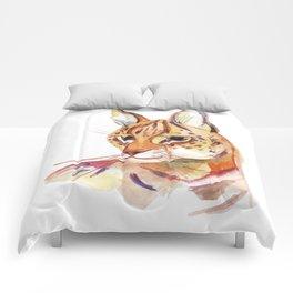 Serval wild cat watercolor Comforters