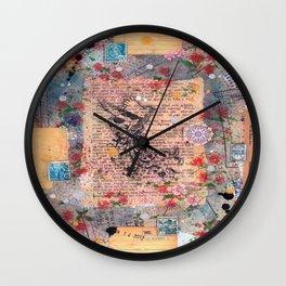 floral book bird Wall Clock